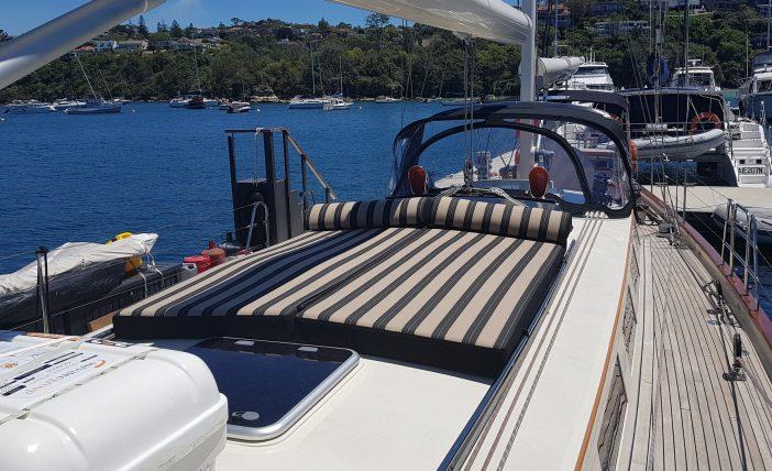 Custom made Sunbrella upholstery for boat